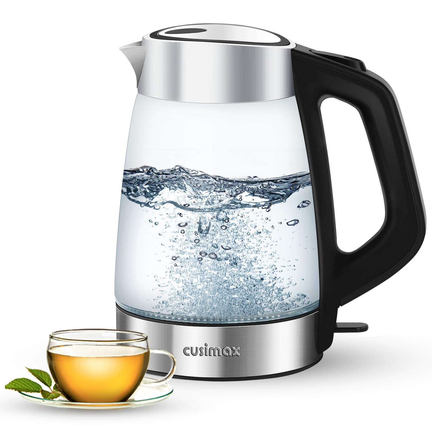 Cusimax Electric Kettle 1.7L BPA-free Glass Hot Water Kettle with 100 Stainless Steel Lid Bottom, Cordless Water Boiler Heater for Tea coffee, Auto Shut-Off Boil-Dry Protection LED Indicator Light