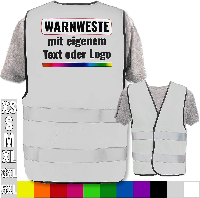 nur Weste Farbe /& Gr/ö/ße:Rot//Gr/ö/ße XS Warnweste selbst gestalten mit eigenem Aufdruck * Bedruckt mit Name Text Bild Logo Firma Position /& Druckart:Ohne Druck