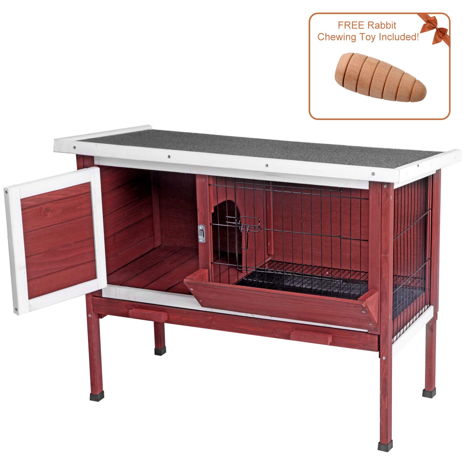 Aivituvin Outdoor Rabbit Hutch, Wooden Bunny Cages Indoor with Deeper Leakproof Tray - Upgrade with Metal Wire Pan (Aubur, Rabbit Hutch #001)