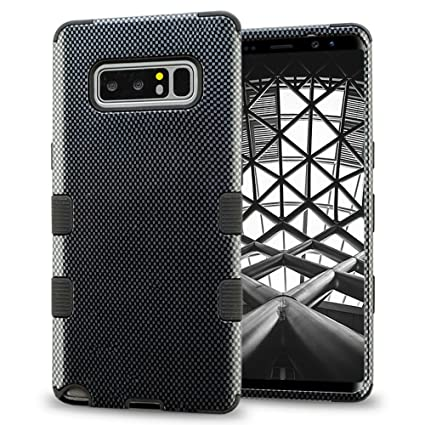 pretty nice c745c a75a1 Samsung Galaxy Note 8 Case, Designer Hybrid, Slim Fit Polycarbonate and  Silicone TPU Hard Cover - Carbon Fiber Black