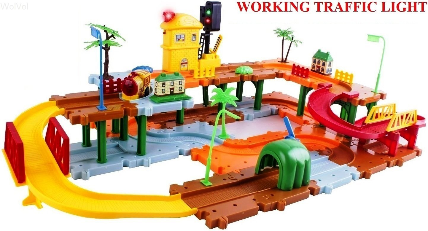 WolVol Big Train Tracks Set Toy for Kids with Upper and Lower Level, Tunnels and Bridges, with Battery Operated Racing Train and a Real Working Traffic Red/Green Light (with sounds)