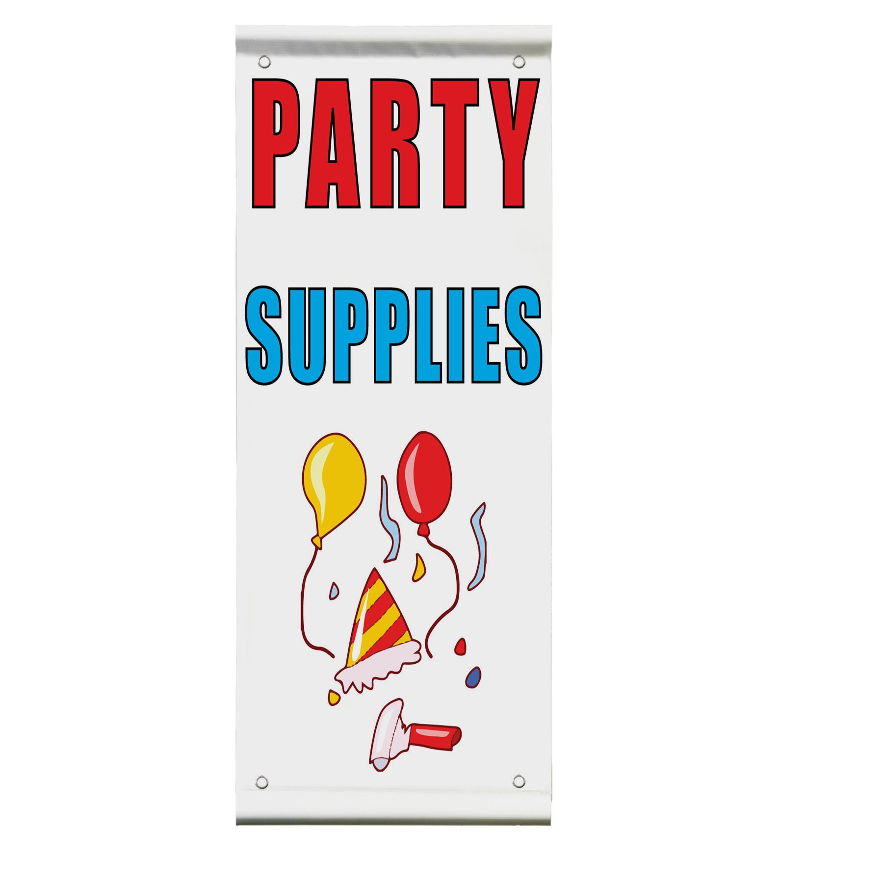 Party Supplies Double Sided Vertical Pole Banner Sign 24 in x 48 in w/ Pole Bracket