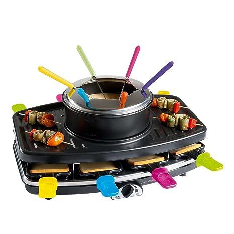 3 in1 Fondue Raclette y parrilla de mesa 8 personas (Barbacoa Eléctrica, 1100 W