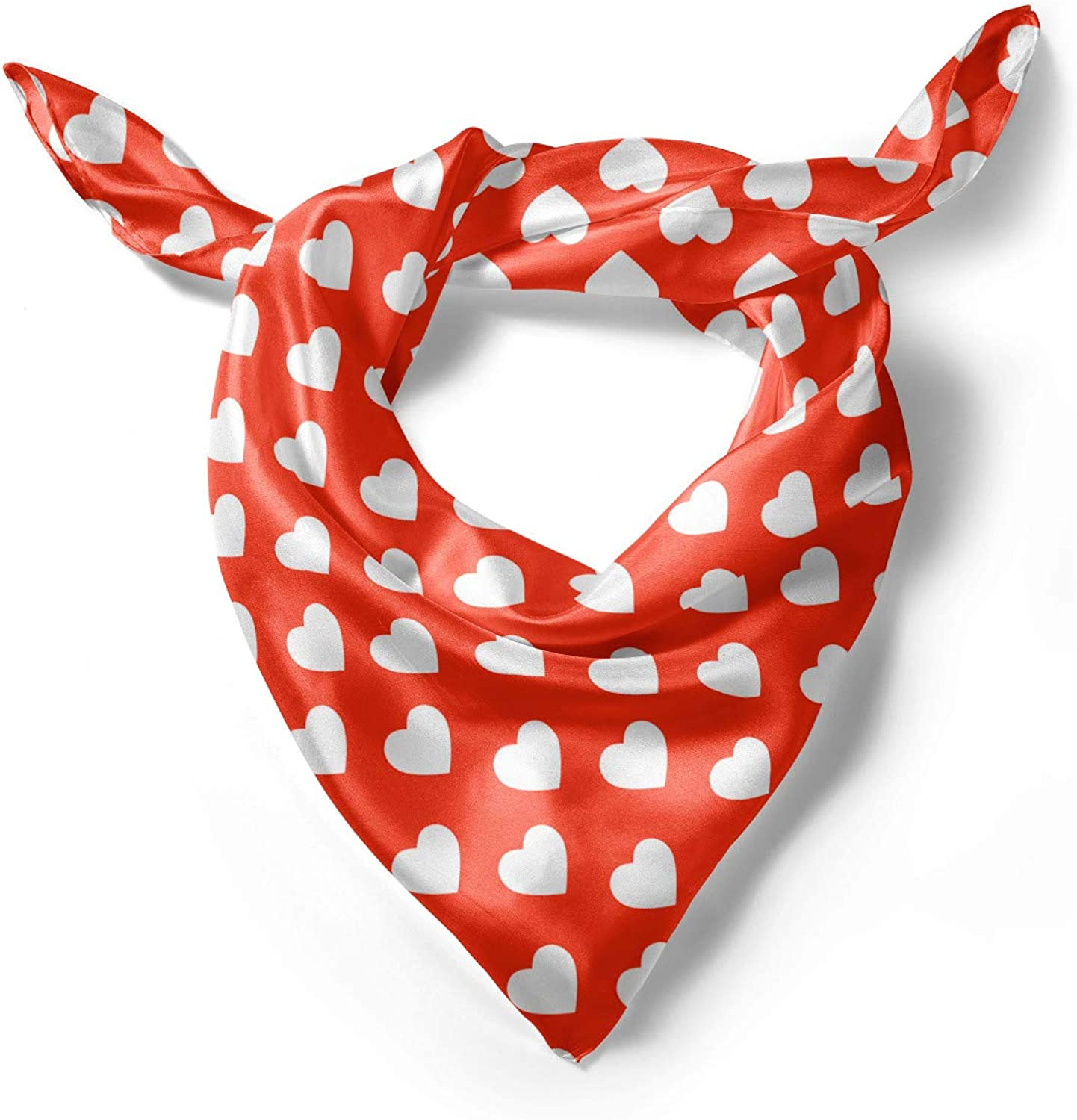Ambesonne Red Headscarf Hijab Scarf White Hearts Love