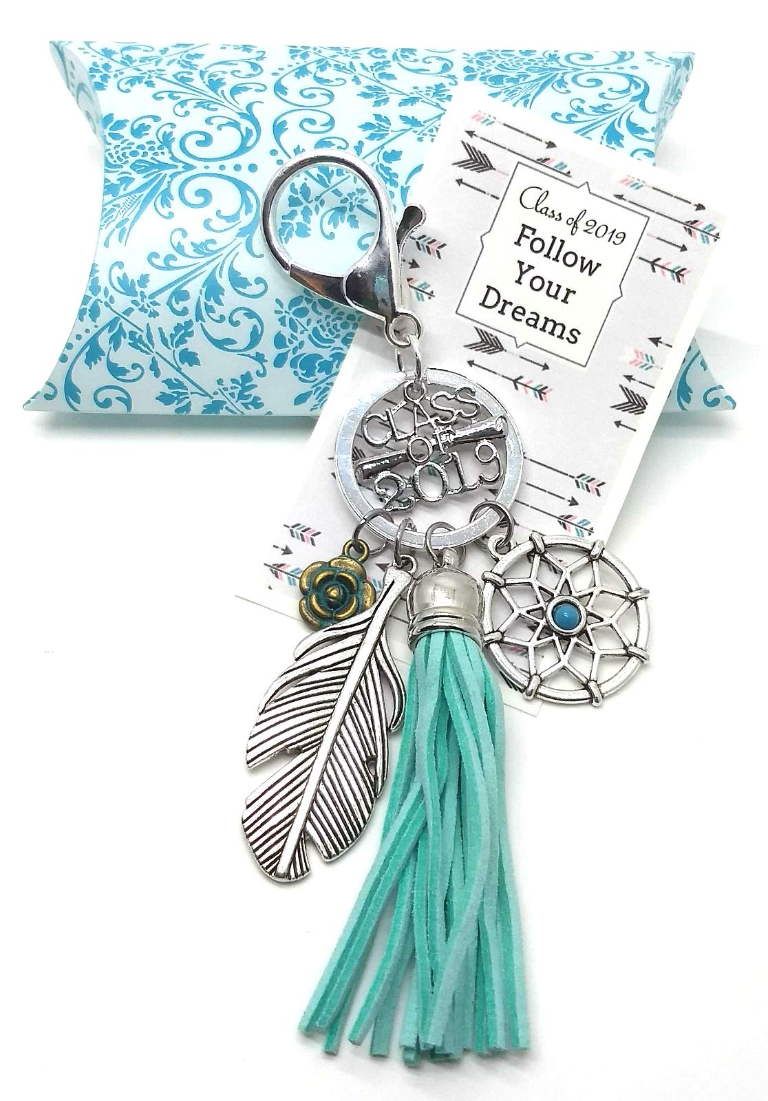 Charmed By Dragons Graduation Gift Class of 2019 Keychain with Tassel Feather and Dreamcatcher in Damask Gift Box