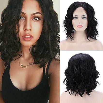 Lace frontal Wig sintéticos peluca de pelo Día Mujer Bob lockig corta peluca # 1B Natural