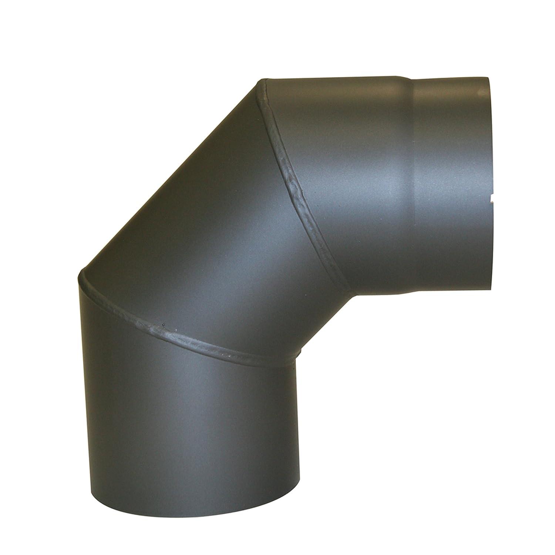 Kamino - Flam – Codo para chimenea de leña, Codo para estufa de leña, Codo vitrificado, Codo de escape – resistente a altas temperaturas – Gris oscuro, Ø 150 mm/90°C Kamino Flam 331896