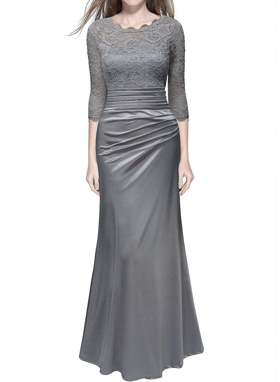 Miusol Vestido - plisado - manga 3/4 - para mujer Negro gris xx-large: Amazon.es: Ropa y accesorios