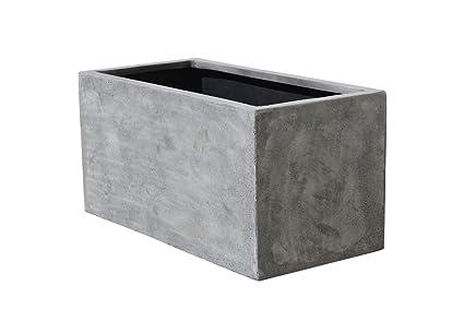 Pflanzkübel Aus Beton.Vivanno Pflanzkübel Pflanztrog Pflanzkasten Fiberglas Beton Design Grau Maxi 30x60x30 Cm