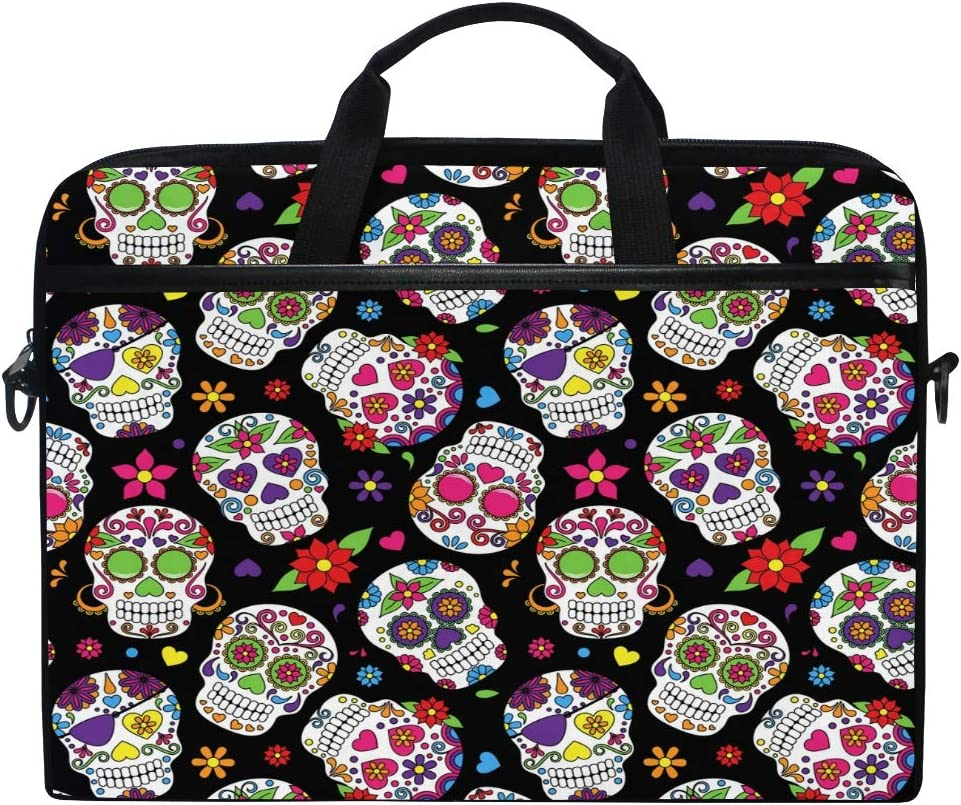 JOKERR Laptop Case Bag Halloween Skull Flower Pattern 14 inch to 14.5 inch Briefcase Messenger Computer Sleeve Tablet Bag with Shoulder Strap Handle for boys girls
