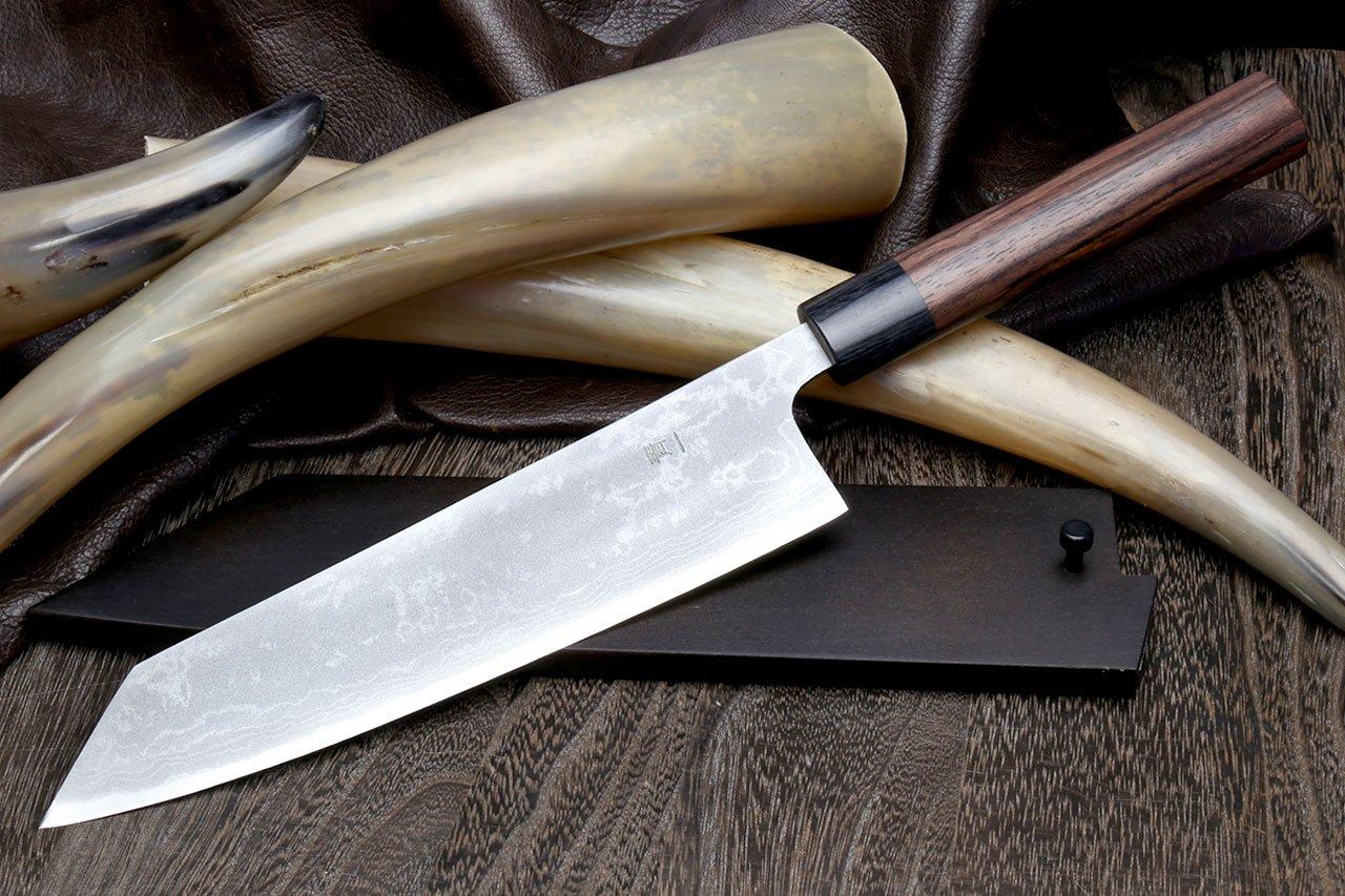 Yoshihiro Mizu Yaki 16 Layers Suminagashi Blue Steel #1 Kiritsuke Multipurpose Japanese Chef Knife, Shitan rosewood Handle (8.25 IN) with Nuri Saya Cover by Yoshihiro (Image #3)