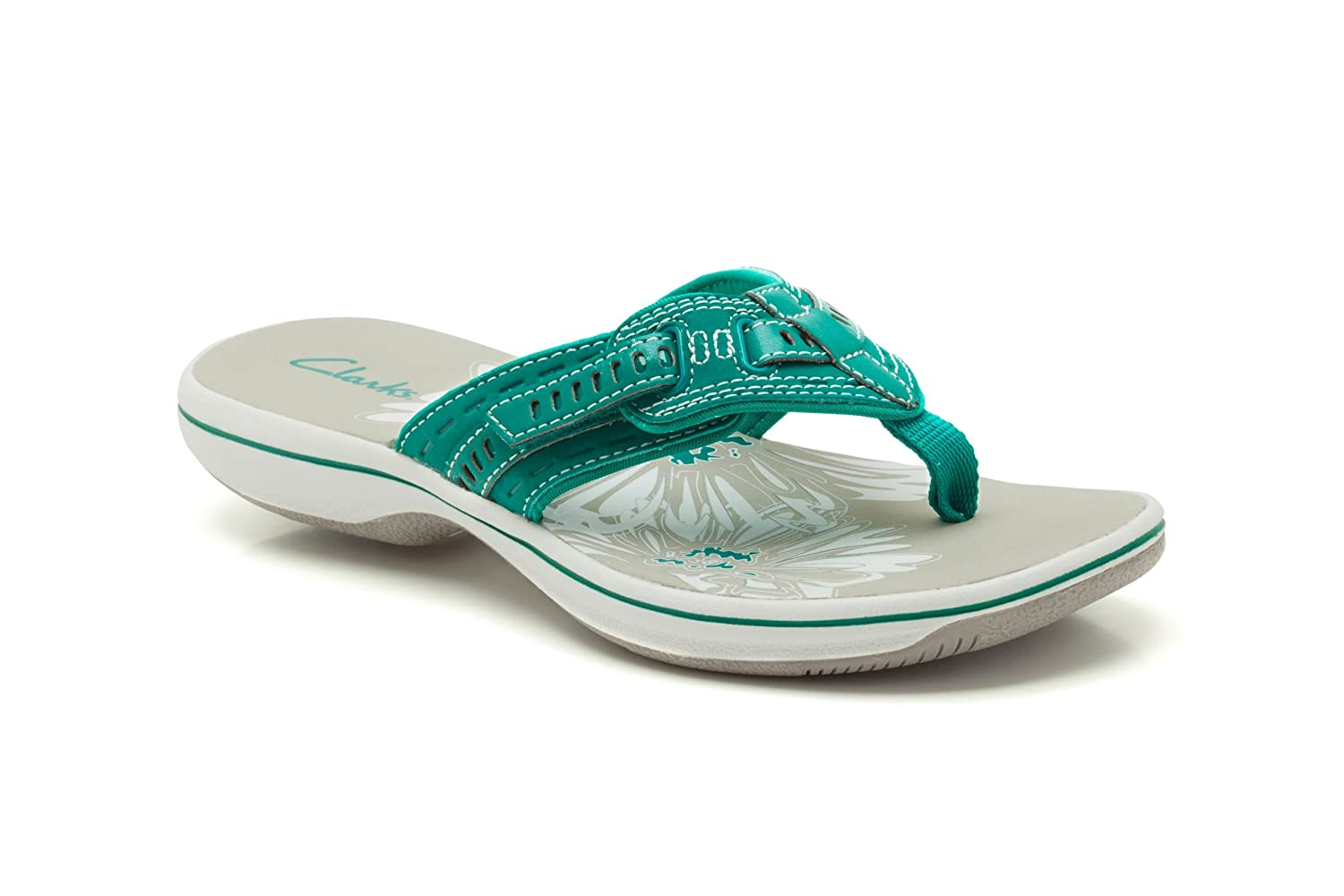 b8348987eaa6 Clarks Womens Casual Clarks Breeze Sky Synthetic Sandals In Teal Standard  Fit Size 3  Amazon.co.uk  Shoes   Bags