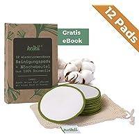 heikii® 12 waschbare Abschminkpads aus reiner Baumwolle + GRATIS EBOOK und Wäschebeutel aus 100% Baumwolle