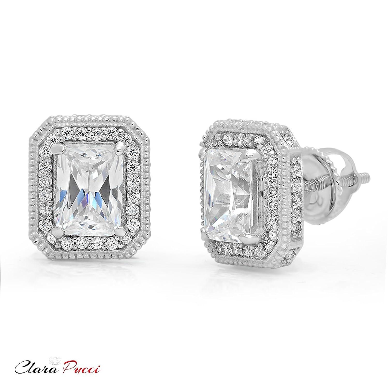 Solid 14K White GOLD Diamond Princess cut women stud earrings Screw Back 0.80 ct