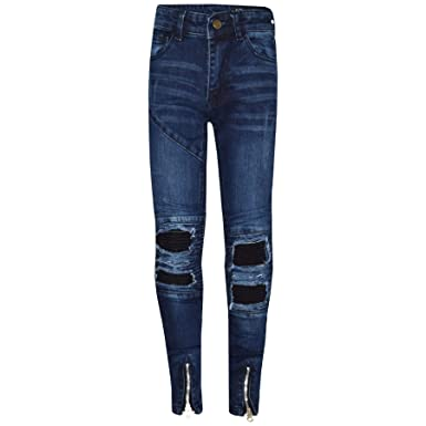 24b82eee10b7 Amazon.com: A2Z Kids Boys Stretchy Jeans Dark Blue Ripped Denim Skinny  Pants Trousers 5-13 Years: Clothing