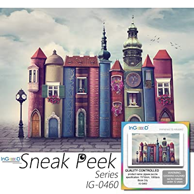Ingooood- Jigsaw Puzzle 1000 Pieces- Sneak Peek Series- Book City_IG-0460 Entertainment Toys for Adult Special Graduation or Birthday Gift Home Decor: Toys & Games