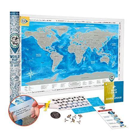 Amazon scratch off world map poster large detailed world scratch off world map poster large detailed world travel map scratch off 35x25 prize gumiabroncs Images