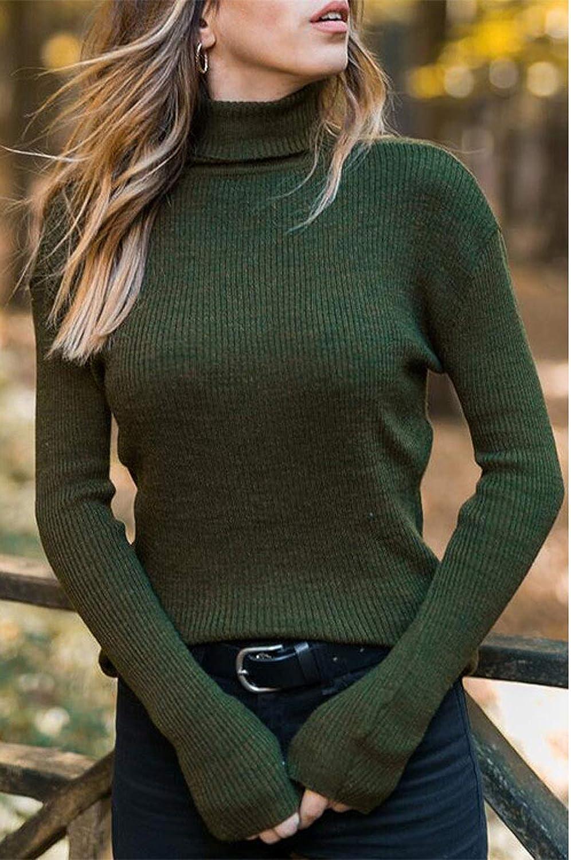 Maglione Donna Collo Alto Elegante Maniche Lunghe per Inverno Pullover Accollato Dolcevita Maglia a Maglieria Elasticizzata