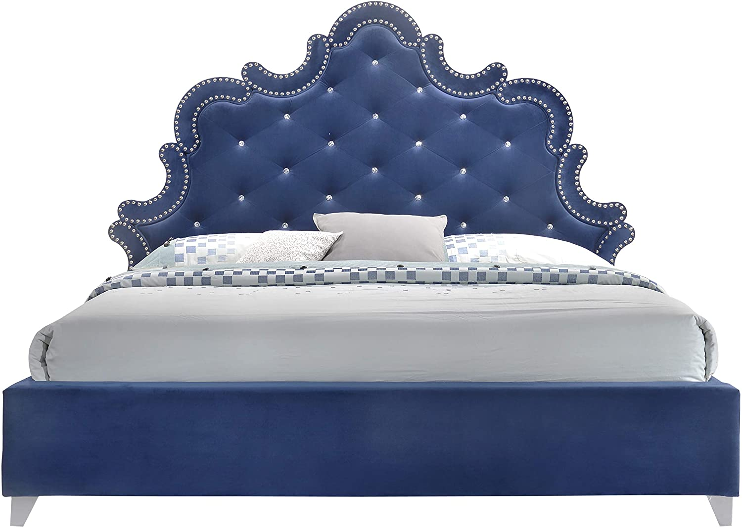 Meridian Furniture Caroline Velvet Upholstered Bed with Silver Nailhead Trim, Crystal Button Tufting, and Custom Chrome Legs, Queen, Navy