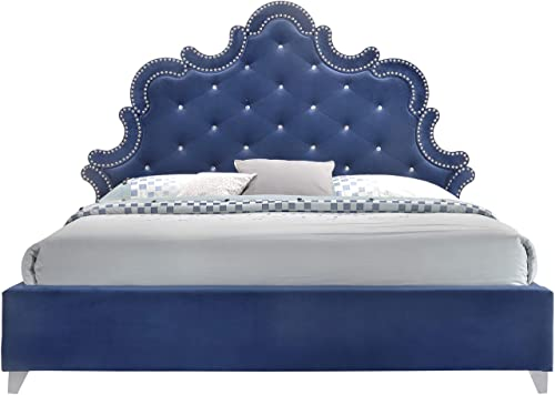 Meridian Furniture Caroline Velvet Upholstered Bed with Silver Nailhead Trim, Crystal Button Tufting, and Custom Chrome Legs, King, Navy