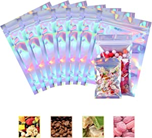 100 Packs Resealable Smell Proof Bags Foil Ziplock Bags Aluminum Foil Bags Flat Metallic Mylar Foil Flat Food Storage Pouch Holographic Rainbow Color (100pcs,7.5 x 12 cm/ 3.0 x 4.7 Inch)