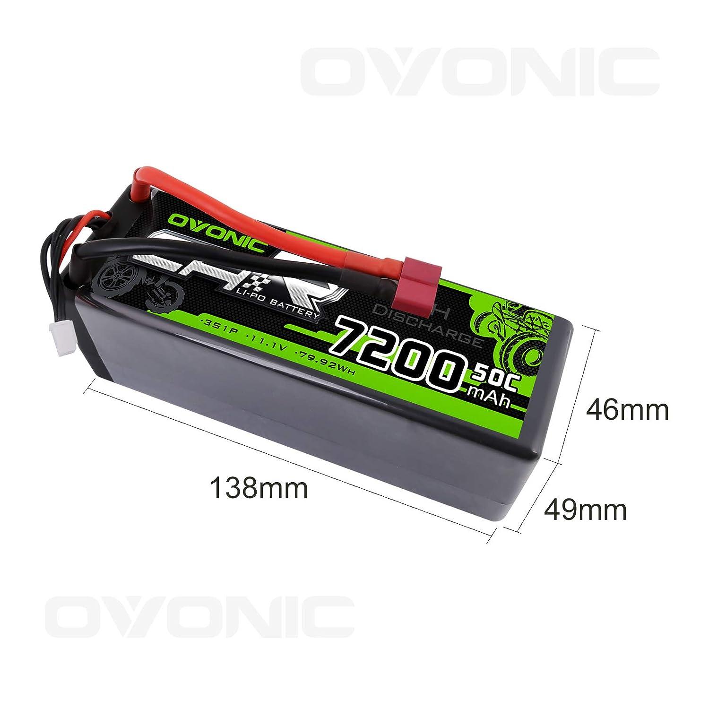 OVONIC RC Car Lipo bater/ía 11.1V 7200 50C 3S mAh HardCase Deans T Plug RC Car Barco cami/ón Roar Aprobado