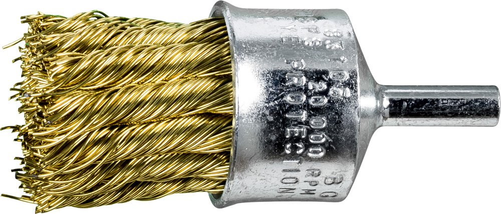 PFERD 83105 Stem Mounted End Knot Wire Brush, Brass Wire, 1'' Diameter.02 Wire Diameter, 20,000 RPM (Pack of 10)