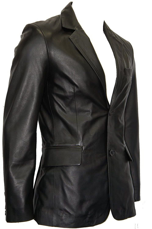 Men's 2 Button Smart Blazer Black Long Lapel Tailored Fit Italian Leather Jacket Coat