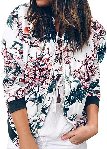 Retro Outwear Jacke Sportjacke räumungsverkauf Casual Mantel Warme Blumen Bomber Up Reißverschluss Damen Jacken YbIv7fy6g