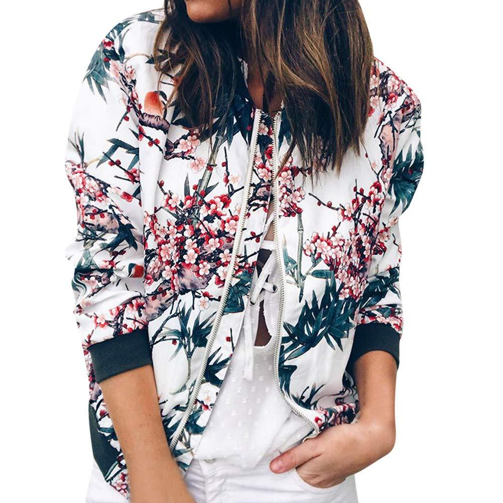 HHei_K Womens Casual Floral Print Long Sleeve Sweatshirt Jacket Pockets Zip up Cardigan Coat