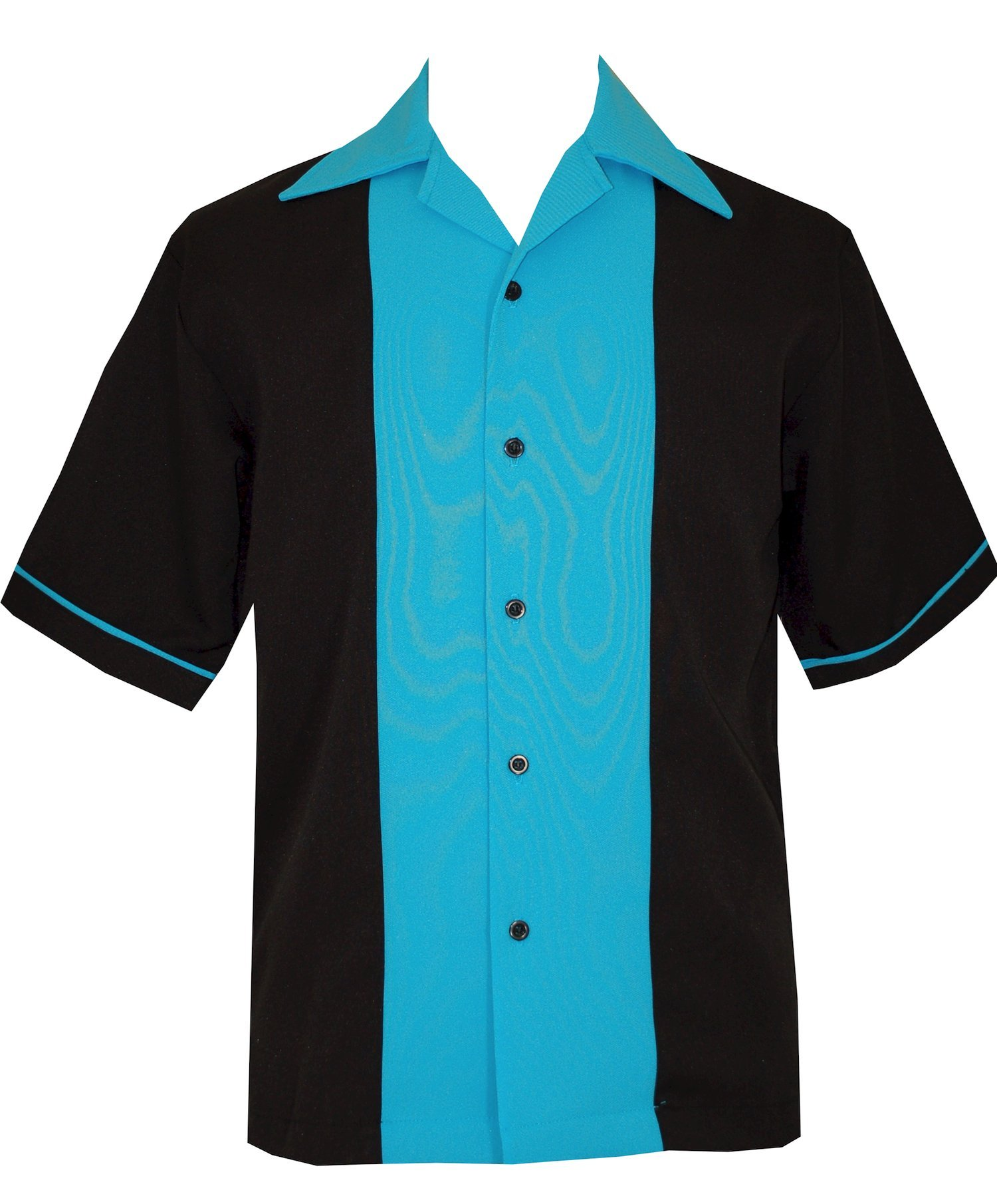 Bowling Retro Men's Short-Sleeve USA Made Shirt ~ 50's Classic (S) Turquoise