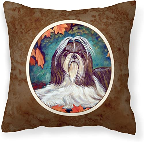 Caroline's Treasures 7182PW1414 Autumn Leaves Shih Tzu Fabric Decorative Pillow