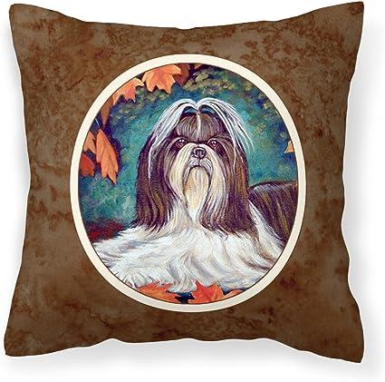 Caroline S Treasures 7182pw1414 Autumn Leaves Shih Tzu Fabric Decorative Pillow 14hx14w Multicolor Garden Outdoor