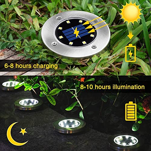 Solar Ground Lights, SOLMORE Upgraded Outdoor 8 LED Solar Garden Lights 8 Packs Waterproof Bright in-Ground Lights for Patio Lawn Yard Pathway Walkway Cold White