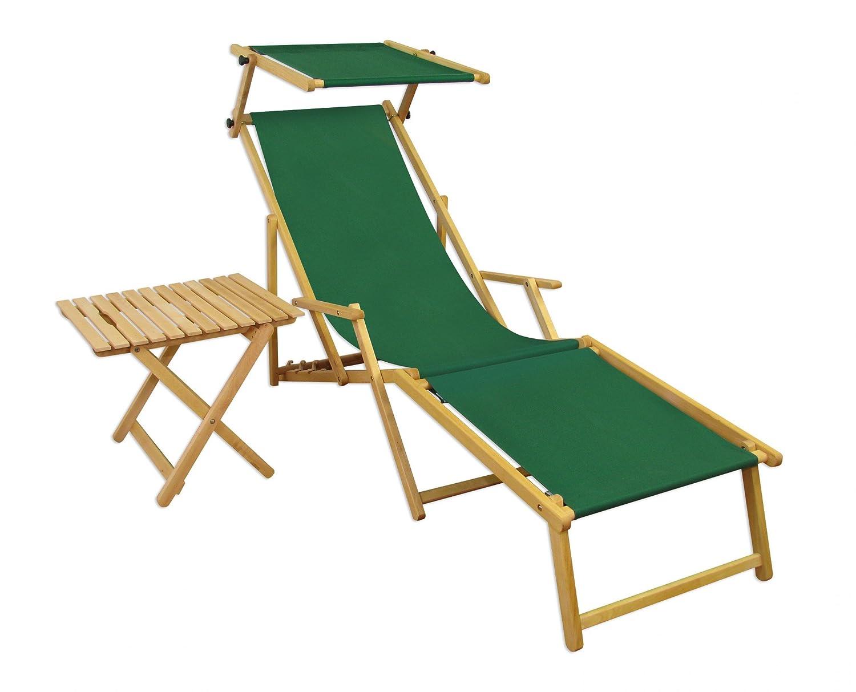 Relaxliege grün Gartenliege Strandliege Fußteil Sonnendach Tisch ...
