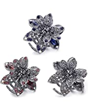 WSERE Set of 3 Mini Hair Jaw Clips Vintage Metal Rhinestone Claw Hair Clips for Women Girls Kids, Non Slip Exquisite Claw Clip, Easy to Match - Good Tension - Not Easily Deformed