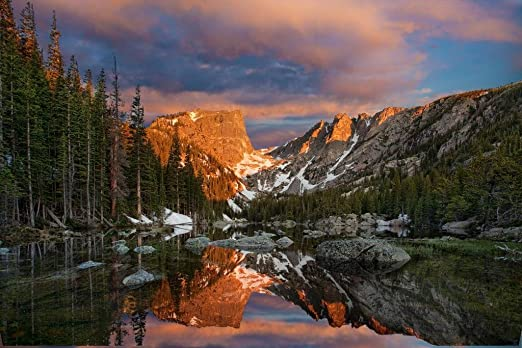 Amazon Com Dream Lake Rocky Mountain National Park Photo Photograph Cool Wall Decor Art Print Poster 36x24 Posters Prints