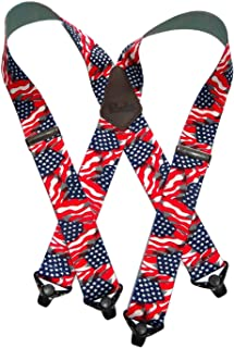 """product image for Holdup Suspender Company's Heavy Duty USA Flag 2"""" Wide Suspenders with Patented Gripper Clasps"""