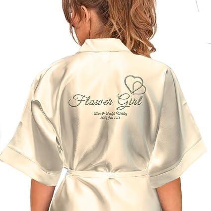 324a41e56e Personalised Satin Kimono Robe Hearts Design 1. Bride