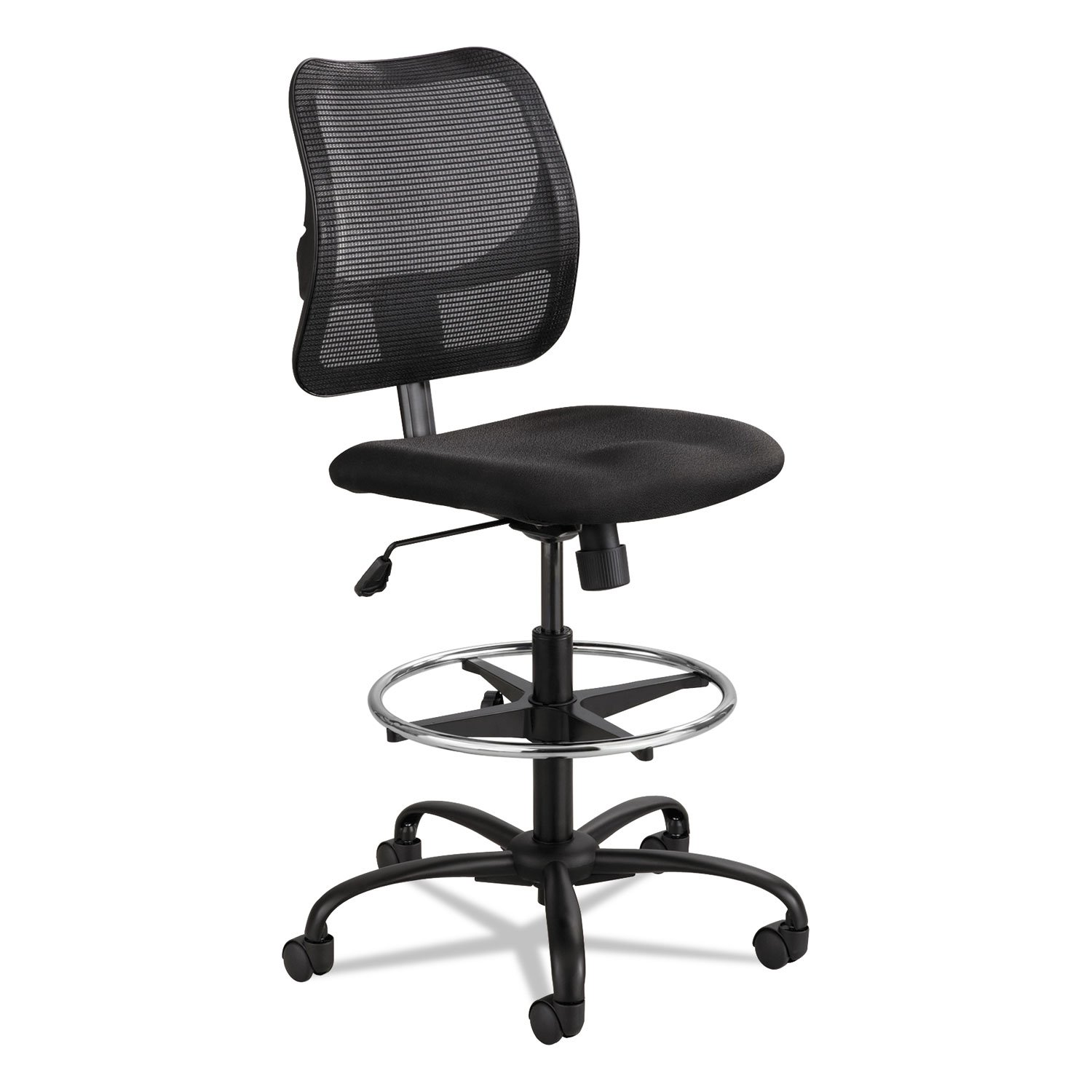 Safco 3395BL Vue Series Mesh Extended Height Chair Acrylic Fabric Seat Black