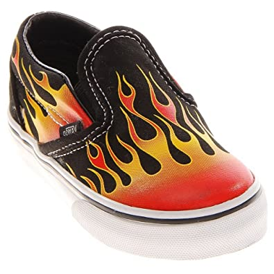 990a5ad5e861ea Vans Classic Slip on Hot Red Flames Infant toddler Baby Boy s Fashion Shoes  (4