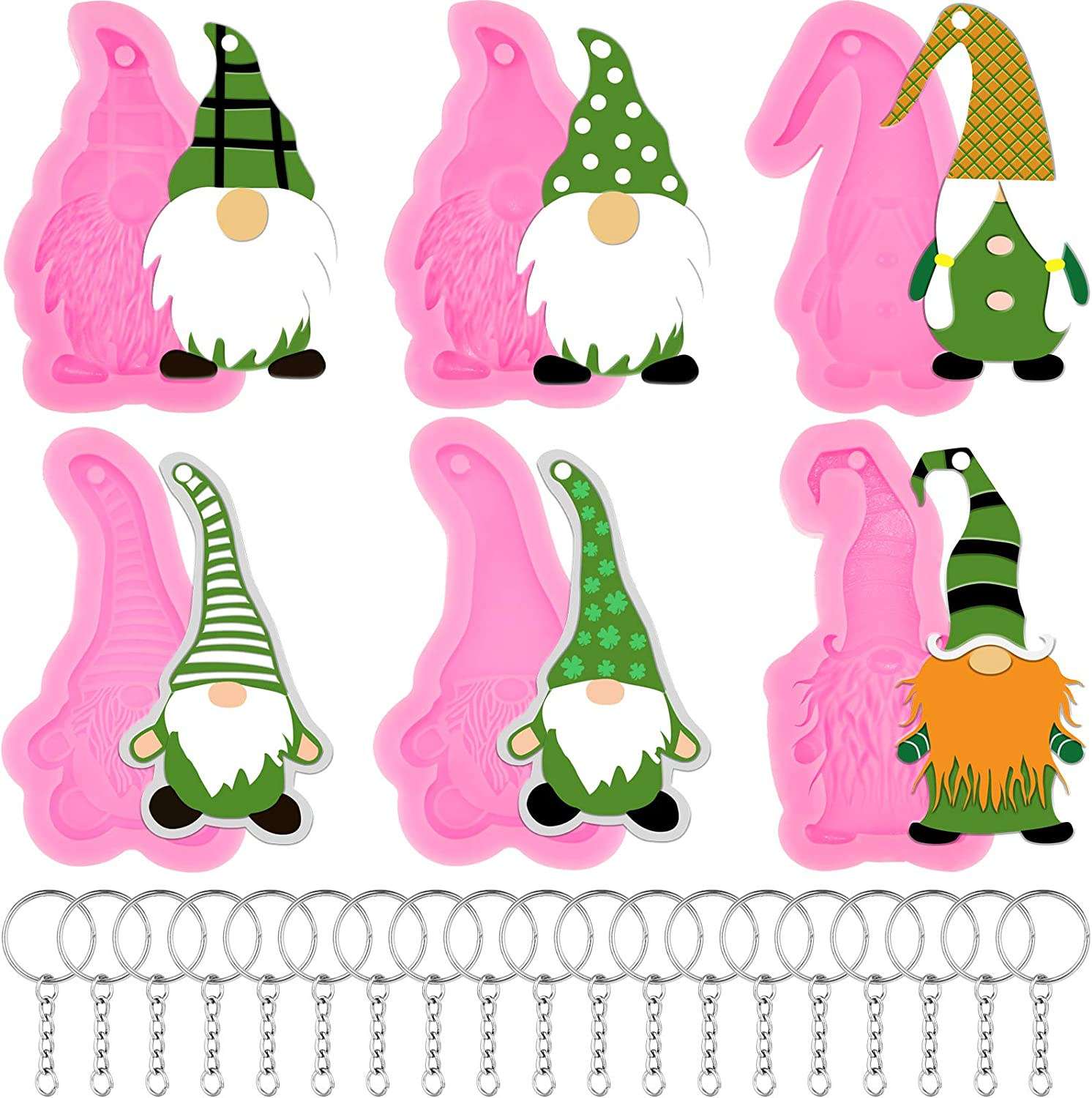 26 Pieces Gnome Shape Silicone Mold with Hole Elf Shape Keychain Silicone Mold with Key Rings for Valentine St. Patrick's Day Easter DIY Tag Pendant Keychain Decoration Homemade Dessert