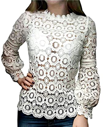 c1e847295ee Smile fish Women Hollow Out Crochet Lace Puff Long Sleeve Floral Lace Blouse(US0-US10)  at Amazon Women s Clothing store
