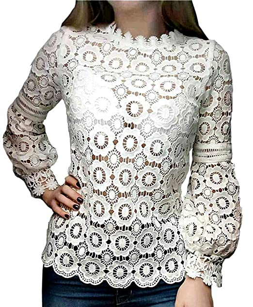 0c75c14c Smile fish Women Elagent Hollow Out Sheer Floral Lace Blouse(White, S) at Amazon  Women's Clothing store: