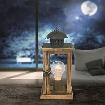 LED Laterne Mit Beleuchtung Glühbirne Tischleuchte Batterie Und Strom  Betrieb Holz Metall (Tischlampe, Weihnachtsdeko