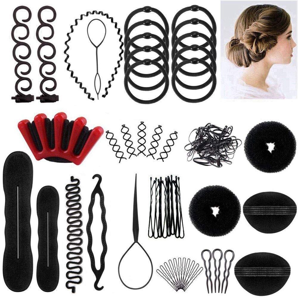 Winkeyes Hair Styling Set, Hair Design Styling Tools Accessories DIY Hair Accessories Hair Modelling Tool Kit Hairdresser Kit Set Magic Simple Fast Spiral Hair Braid Hair Braiding Tool, Set of 25