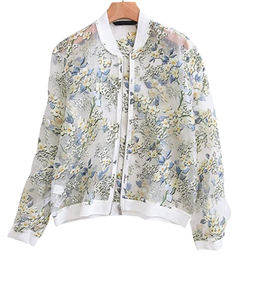 0f71a7d82 Gihuo Women's Long Sleeve Stand Collar Zip Up Sheer Floral Organza ...