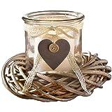 SIDCO ® Windlicht mit Kranz Kerzenglas Laterne Kerzenhalter Deko Shabby Landhaus natur