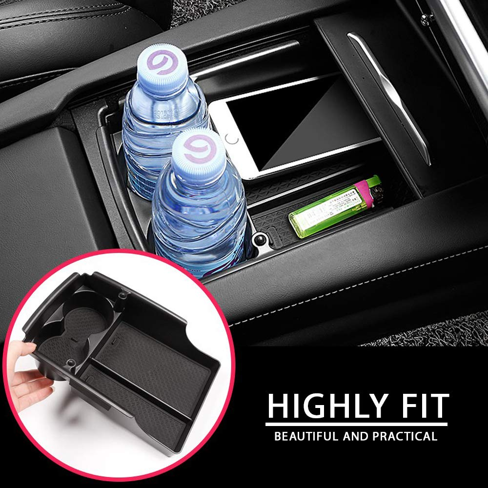Black CoolKo Tesla Center Console Armrest Storage Box Holder with Water Cup Container Modification for Tesla Model S and X 2016 2017 2018