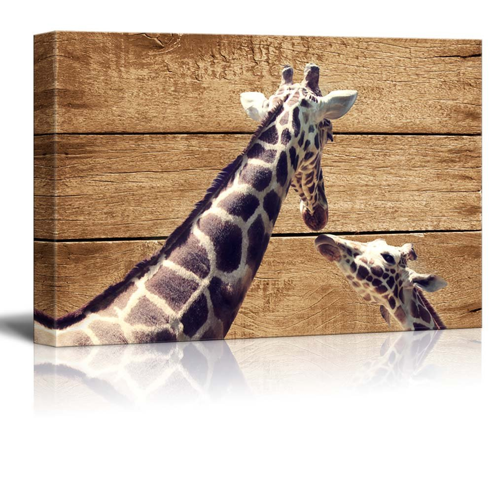 Rustic Canvas Wall Art.Details About Rustic Canvas Wall Art Two Giraffes Giclee Print Modern Wall Decor 24x36